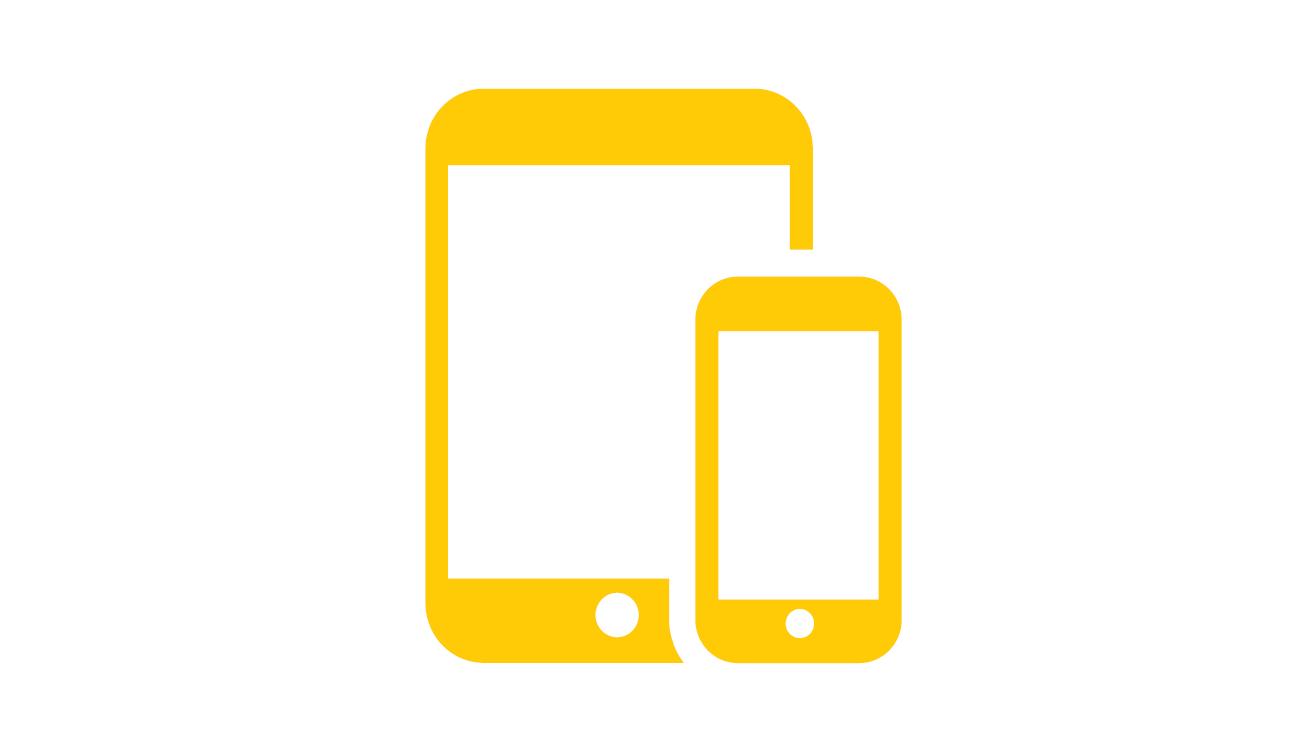 Icone mobile responsive jaune