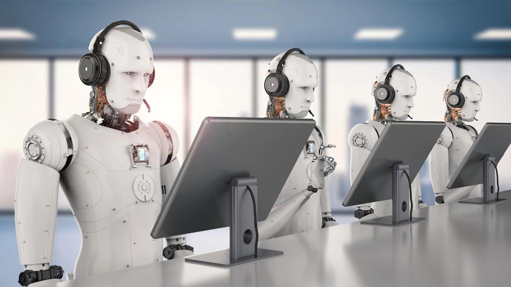 Robots avec casque audio devant écrans