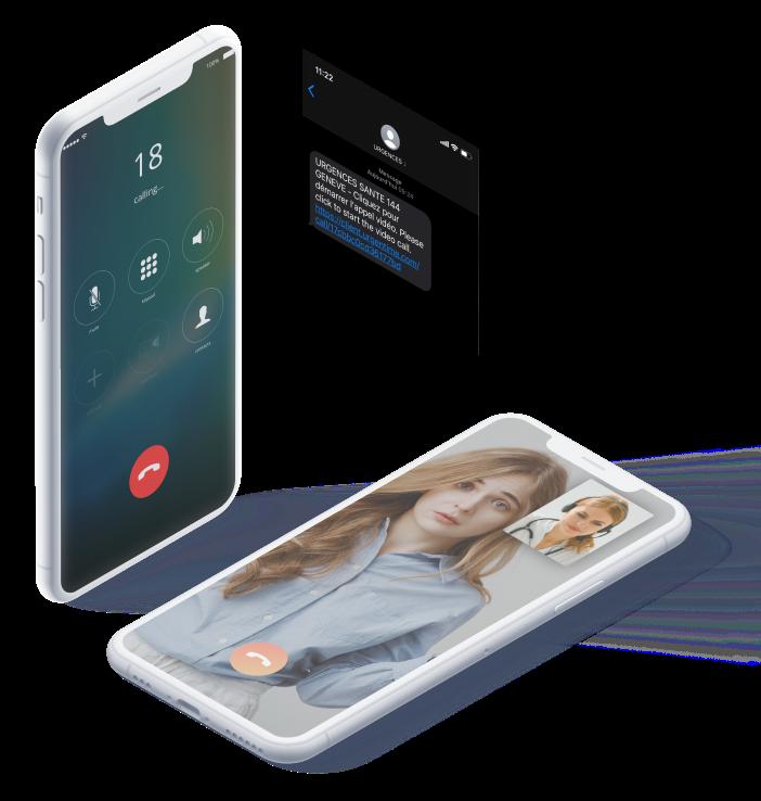 Démonstration d'Urgentime sur un mobile pour un appel vidéo avec un médecin